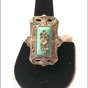 Jewelry - Art Nouveau s/s and Imitation Turquoise Ring